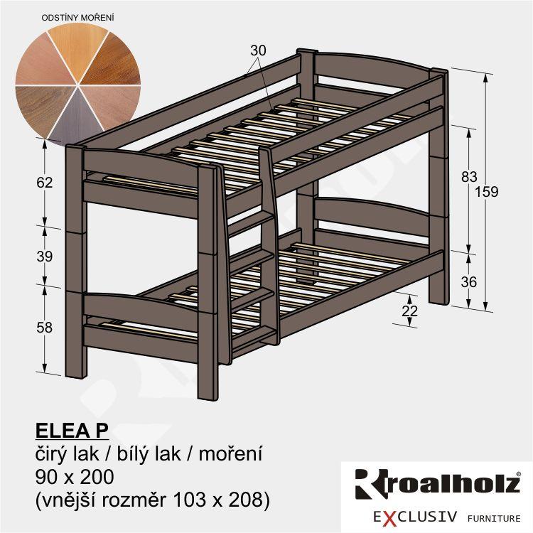 Barevná dvoupatrová postel z masivu ELEA P, barevná palanda masiv 90x200 ROALHOLZ