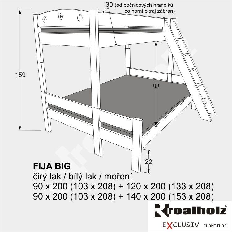 Bílá rozšířená palanda z masivu FIJA BIG, bílá patrová postel 140x200 ROALHOLZ
