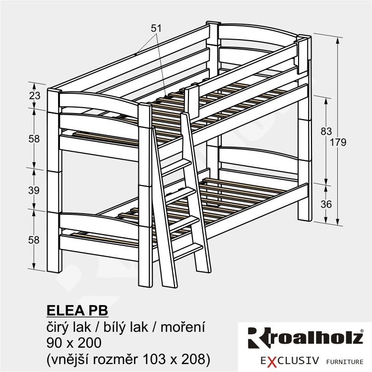 Bílá bezpečná patrová postel z masivu ELEA PB, bílá palanda masiv 90x200 ROALHOLZ