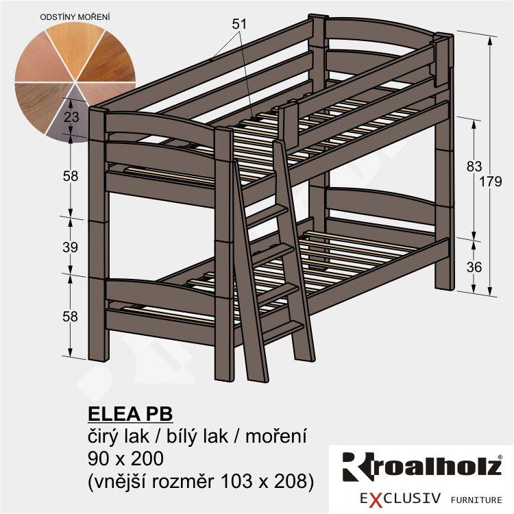 Bezpečná patrová postel z masivu ELEA PB, barevná palanda 90x200 ROALHOLZ