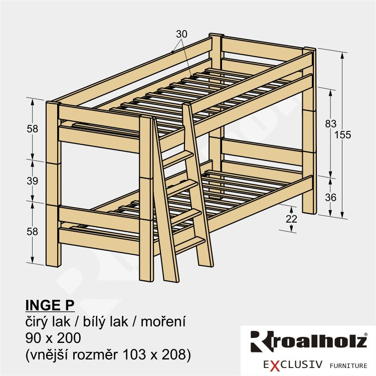 Moderní rozkládací patrová postel z masivu INGE P, palanda z masivu 90x200 ROALHOLZ