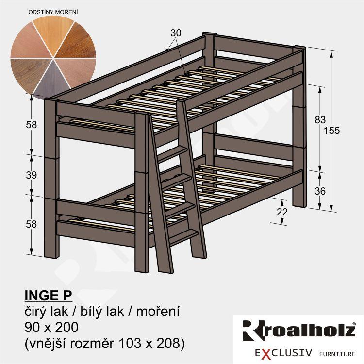 Barevná rozložitelná patrová postel z masivu INGE P, palanda masiv 90x200 ROALHOLZ