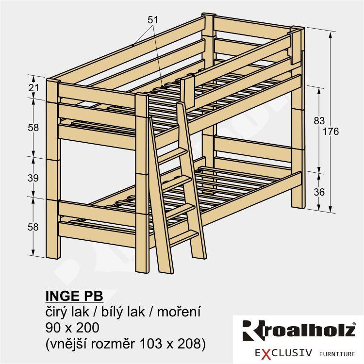 Bezpečnostní palanda ze smrkového masivu INGE PB, patrová postel 90x200 ROALHOLZ
