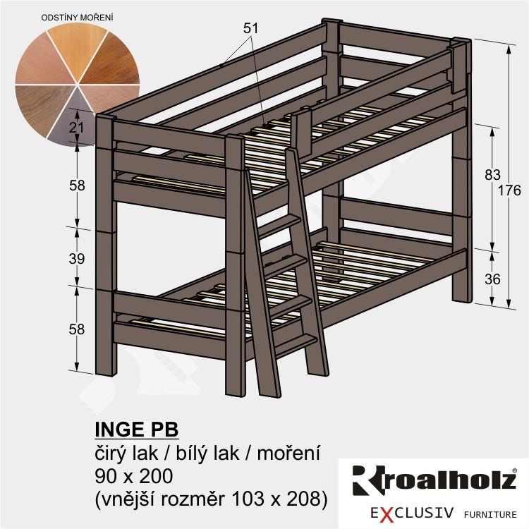 Barevná rozkládací patrová postel z masivu INGE PB, barevná palanda 90x200 ROALHOLZ