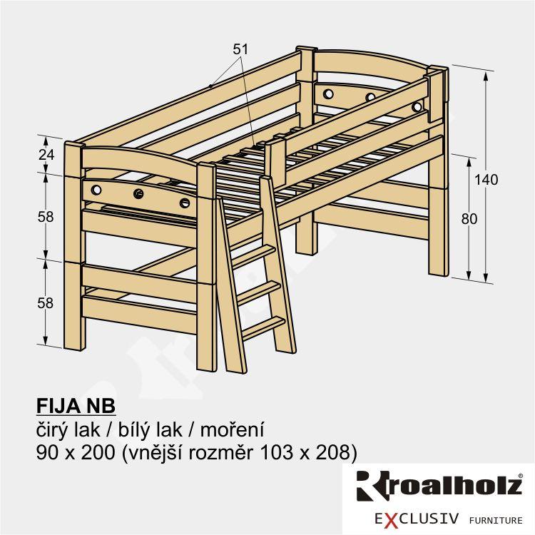 Bezpečné zvýšené jednolůžko z masivu FIJA NB, nízká palanda 90x200 ROALHOLZ