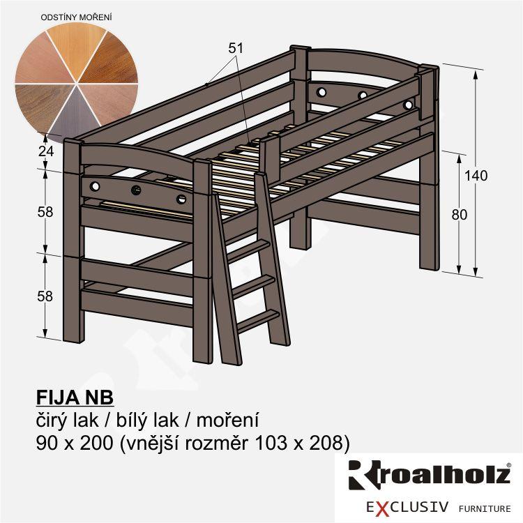 Bezpečná zvýšená postel z masivu FIJA NB, barevná nízká palanda 90x200 ROALHOLZ