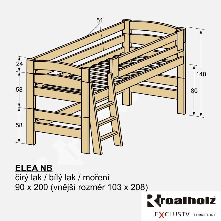 Bezpečná zvýšená postel z masivu ELEA NB, dětská nízká palanda 90x200 ROALHOLZ