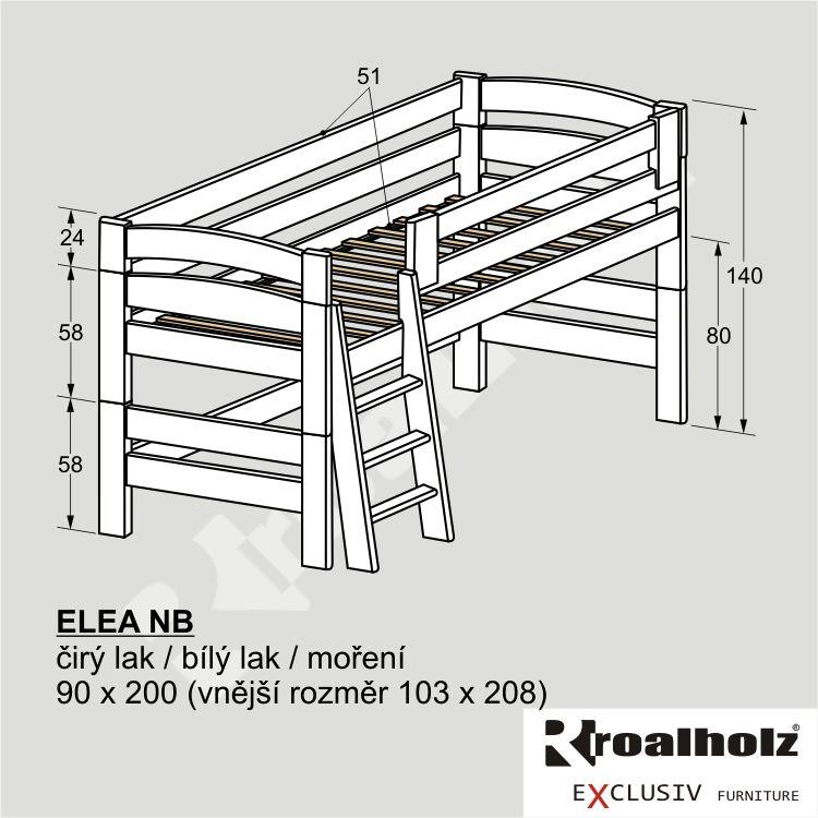 Bezpečná bílá zvýšená postel masiv ELEA NB, bílá nízká palanda 90x200 ROALHOLZ