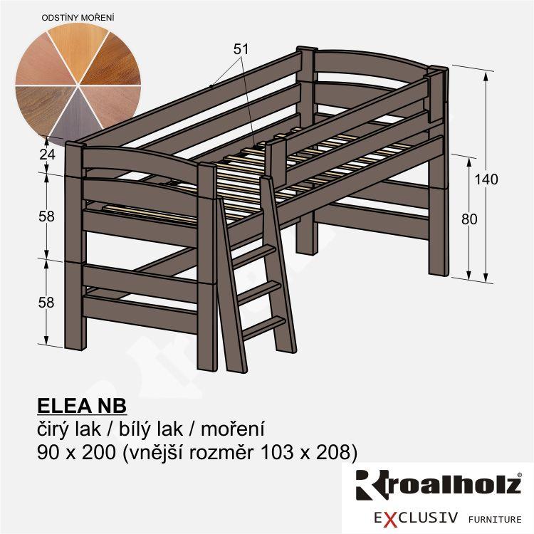Bezpečné zvýšené jednolůžko z masivu ELEA NB, barevná nízká palanda 90x200 ROALHOLZ
