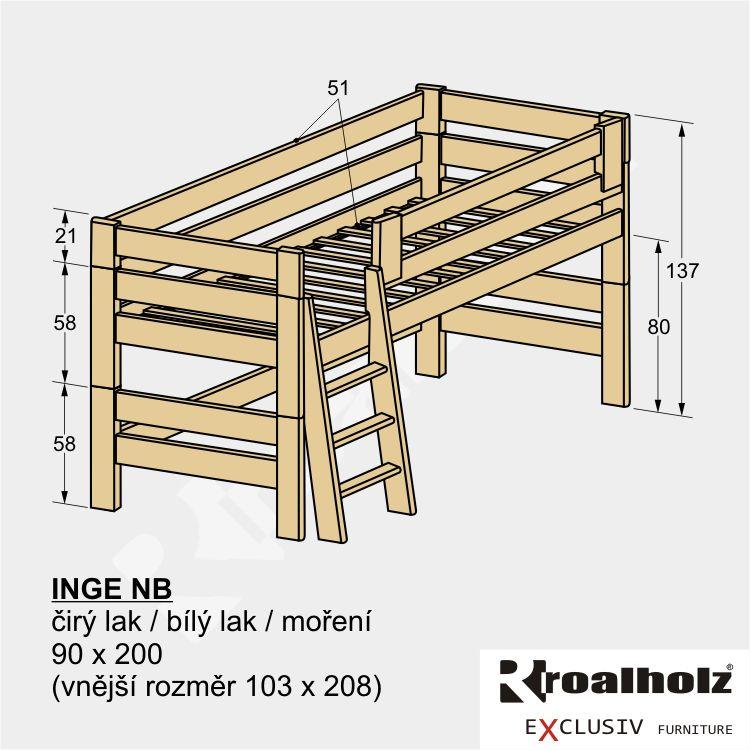 Bezpečná zvýšená postel z masivu INGE NB, dětská nízká palanda 90x200 ROALHOLZ