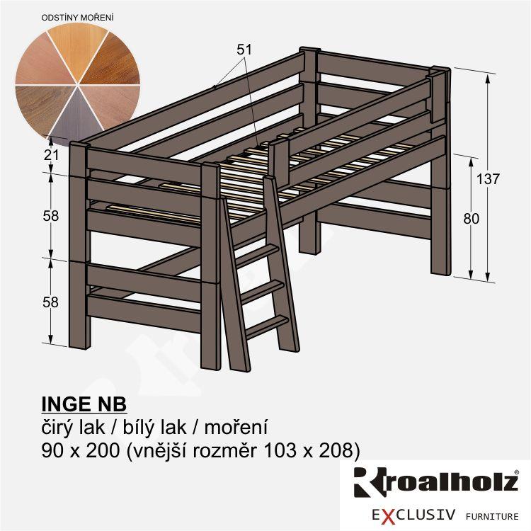 Barevná zvýšená postel z masivu INGE NB, dětské zvýšené jednolůžko 90x200 ROALHOLZ