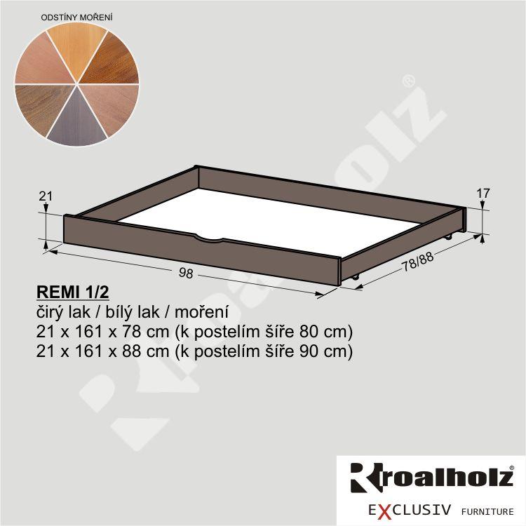 Barevný úložný prostor z masivu REMI 1/2, masiv smrk ROALHOLZ