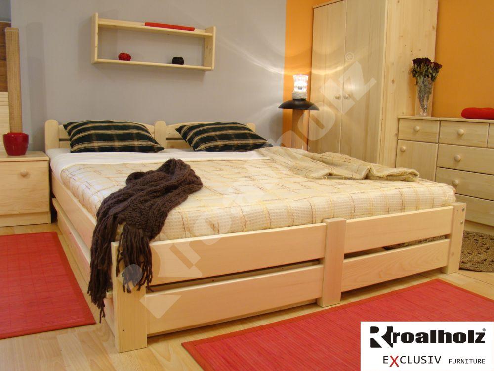 Dřevěné dvoulůžko z masivu RADKA NR, manželská postel masiv ROALHOLZ