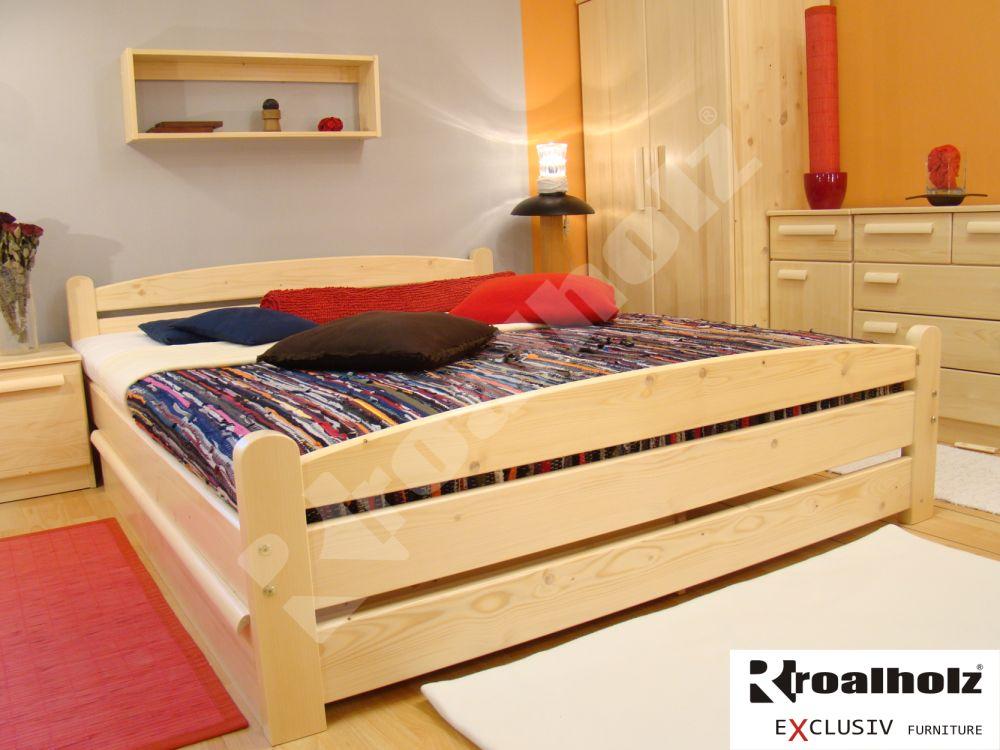 Dřevěná manželská postel z masivu RADKA II, dvoulůžko masiv smrk ROALHOLZ