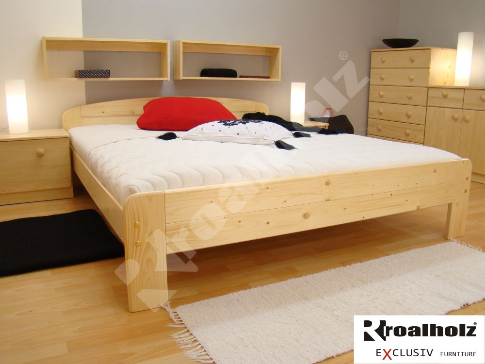Dvoulůžko z masivu GABRIELA NR, kvalitní manželská postel smrk masiv ROALHOLZ