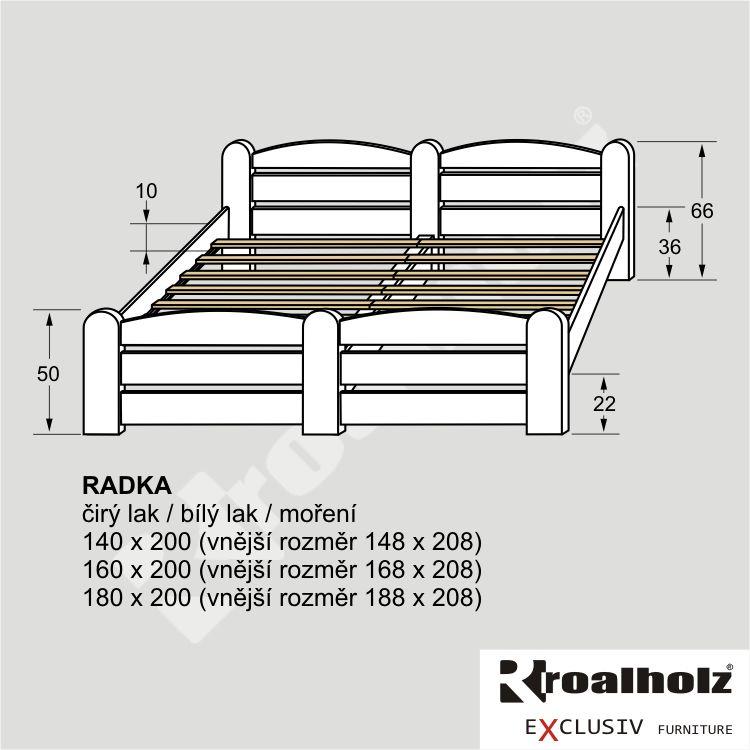 Bílá manželská postel z masivu RADKA, bílé stylové dvoulůžko masiv ROALHOLZ