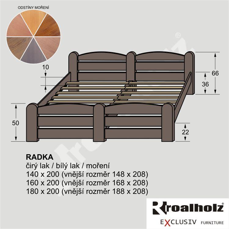 Mořené dvoulůžko z masivu RADKA NR, mořená manželská postel masiv ROALHOLZ