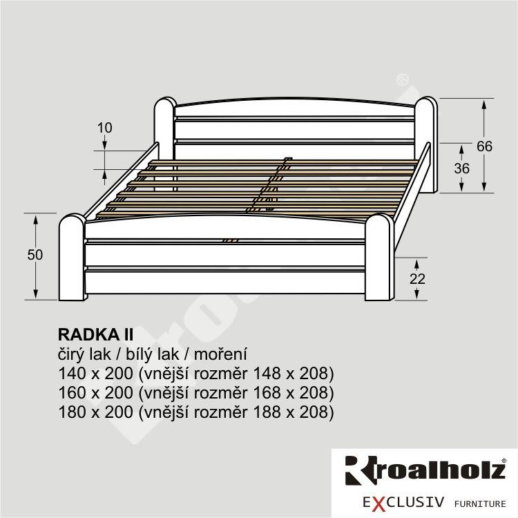 Bílá manželská postel z masivu RADKA II, bílé stylové dvoulůžko masiv ROALHOLZ