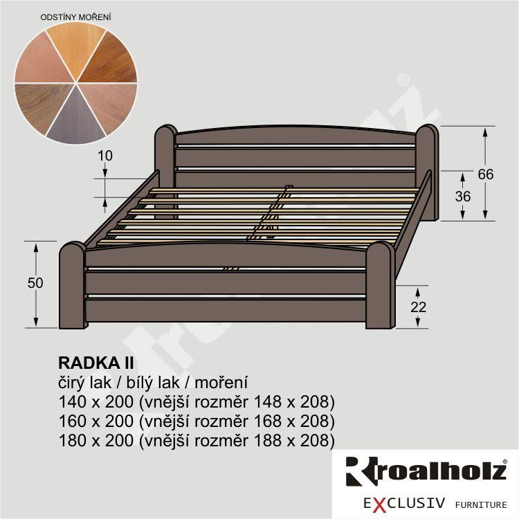 Mořené dvoulůžko z masivu RADKA II, stylová manželská postel masiv ROALHOLZ