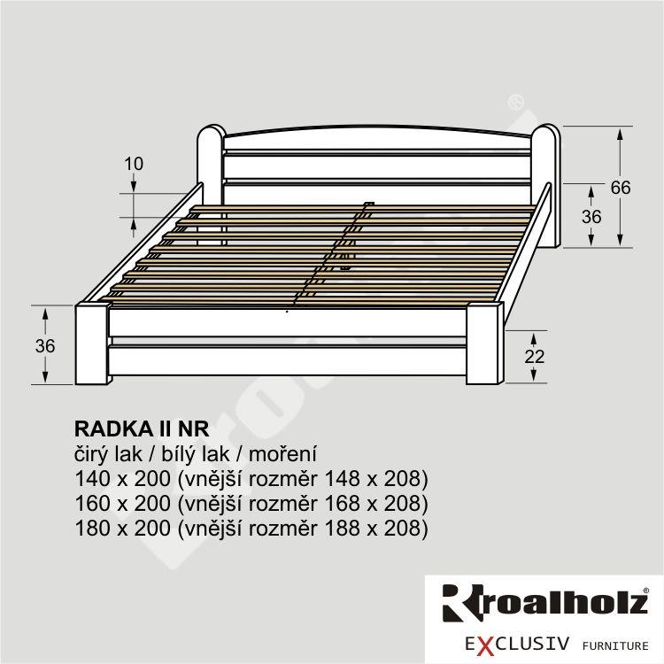 Bílé dvoulůžko z masivu RADKA II NR, manželská postel masiv smrk ROALHOLZ