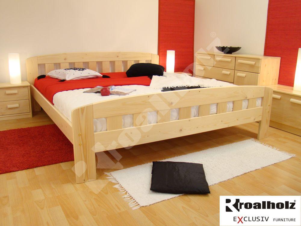 Manželská postel z masivu DANIEL 180x200, dvoulůžko masiv smrk ROALHOLZ