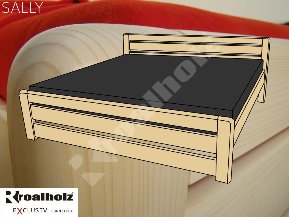 Moderní dvoulůžko z masivu SALLY, kvalitní manželská postel smrk masiv ROALHOLZ