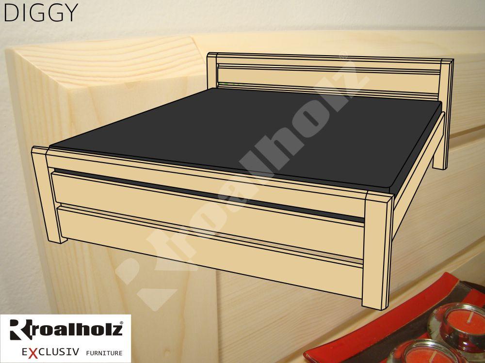 Kvalitní manželská postel z masivu DIGGY, moderní dvoulůžko masiv smrk ROALHOLZ