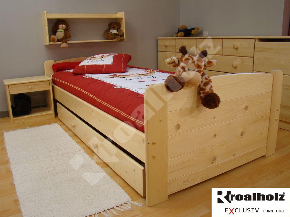 dřevěná dětská postel masiv RONY 90x200 jednolůžko z masivu