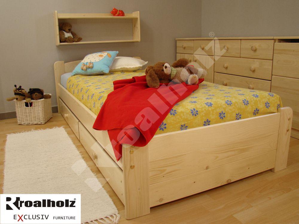 dřevěná dětská postel z masivu RONY N 90x200 dětské jednolůžko