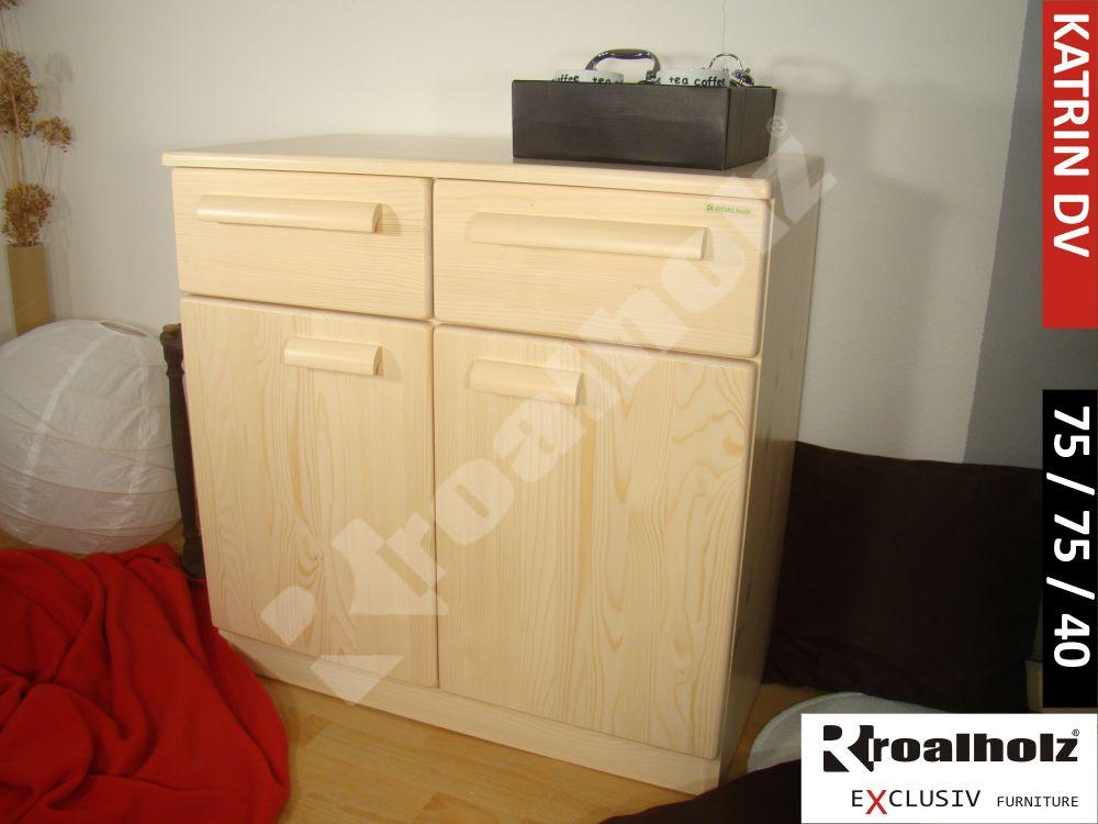 Dřevěná komoda z masivu KATRIN DV, komoda do ložnice masiv smrk ROALHOLZ