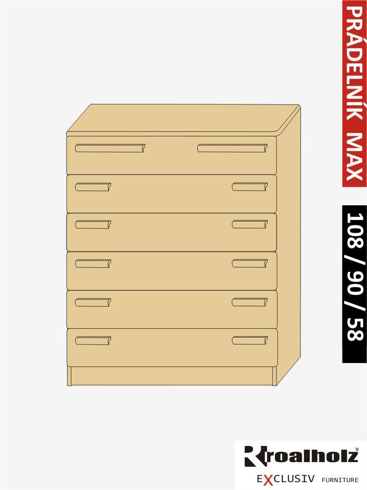 Dřevěný prádelník z masivu do ložnice PRÁDELNÍK MAX, masiv smrk ROALHOLZ