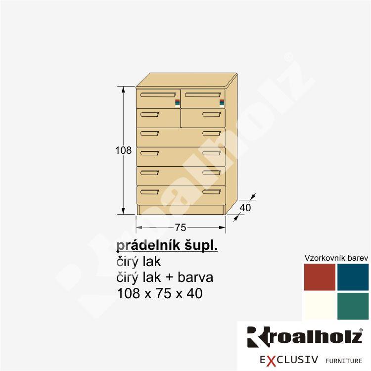 Dřevěný šuplíkový prádelník z masivu PRÁDELNÍK ŠUPL., prádelník masiv ROALHOLZ
