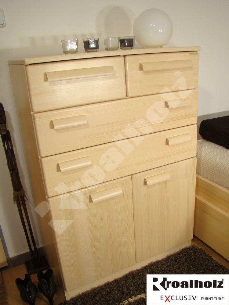 Prádelník z masivu do ložnice PRÁDELNÍK DV, smrkový prádelník masiv ROALHOLZ