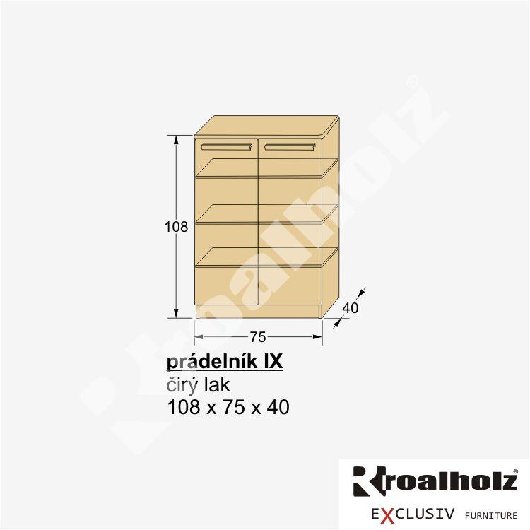 Dřevěný dvířkový prádelník z masivu PRÁDELNÍK IX, prádelník smrk masiv ROALHOLZ