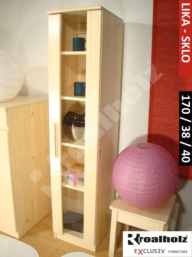 Prosklená skříň z masivu, knihovna LIKA SKLO 170, vitrína masiv ROALHOLZ