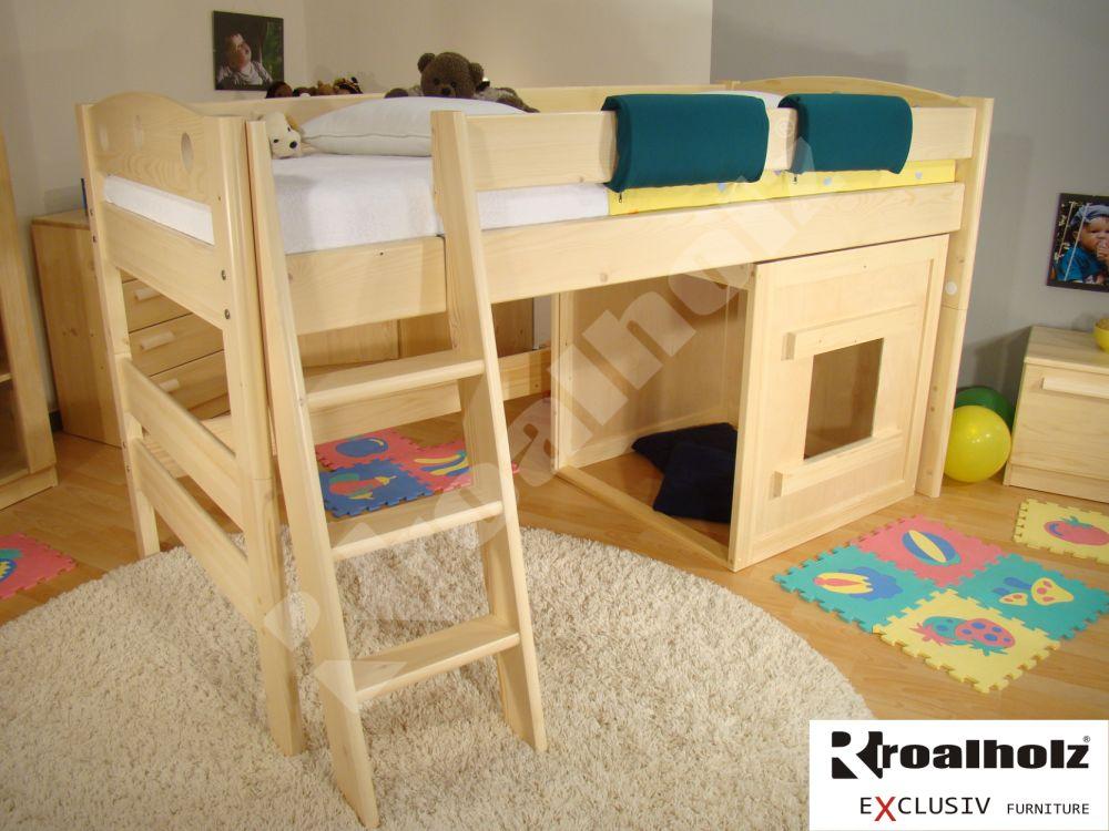 dětská zvýšená postel masiv FIJA N s domečkem 90x200