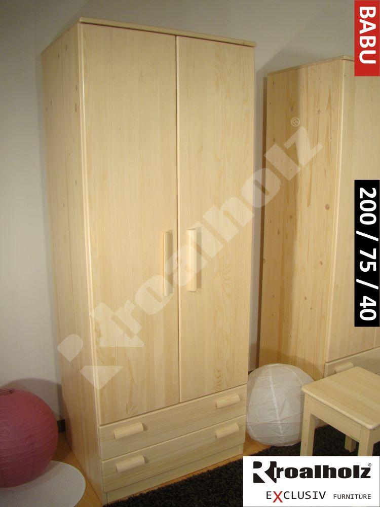 Dřevěná vysoká policová skříň z masivu BABU 200, skříň policová masiv smrk ROALHOLZ