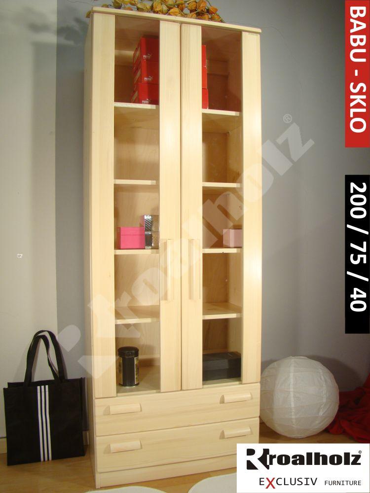 Prosklená knihovna masiv BABU SKLO 200, prosklená skříň z masivu ROALHOLZ