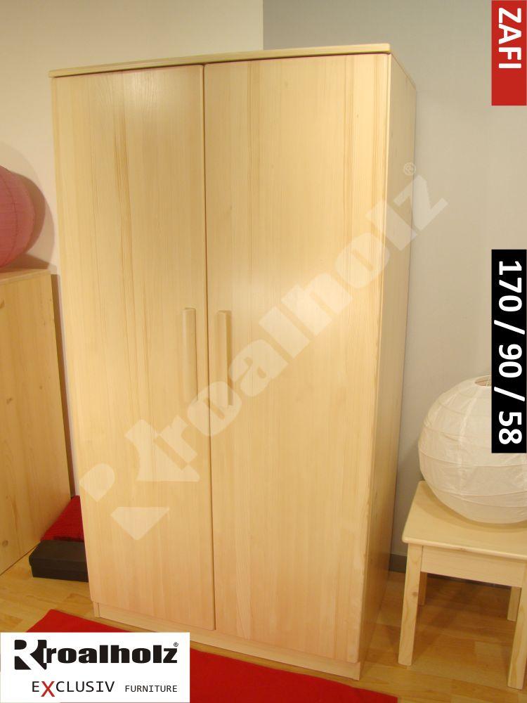 Dvoudveřová šatní skříň z masivu ZAFI 170, šatní skříň masiv smrk ROALHOLZ