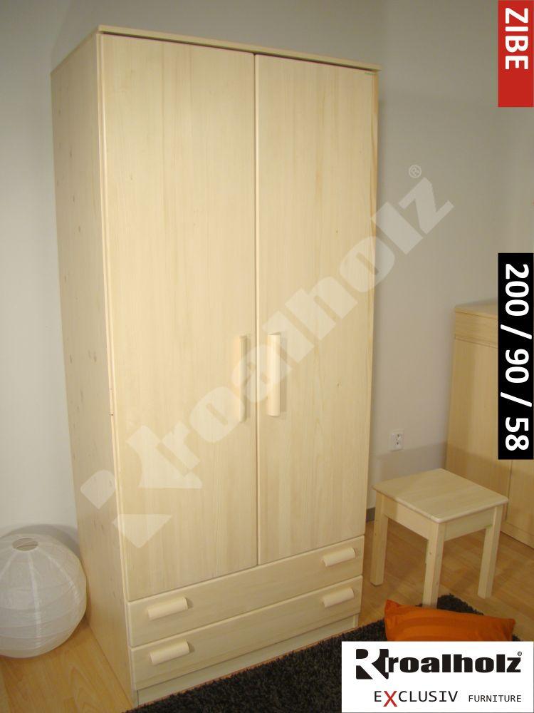 Dřevěná šatní skříň z masivu ZIBE 200, šatní skříň z masivu smrk ROALHOLZ