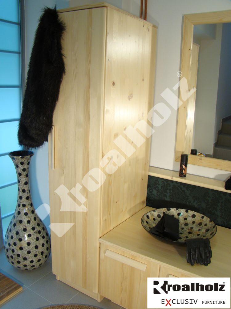 Šatní skříň z masivu NESA 170, jednodveřová šatní skříň masiv smrk ROALHOLZ