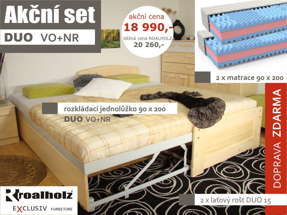 rozkládací jednolůžko masiv DUO VO+NR a matrace HOSTELA (akční set rozkládací postel z masivu a matrace)