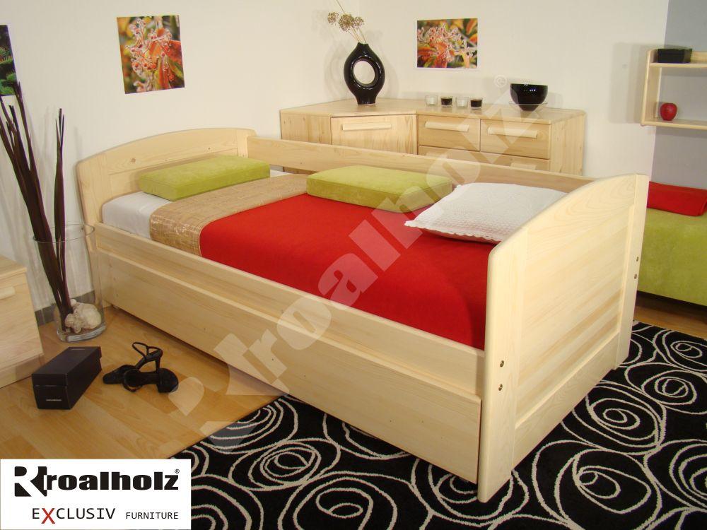 dřevěná zadní ZÁBRANA DUO na postele z masivu (zadní ZÁBRANA DUO, pevná zábrana na postel - 200 cm )