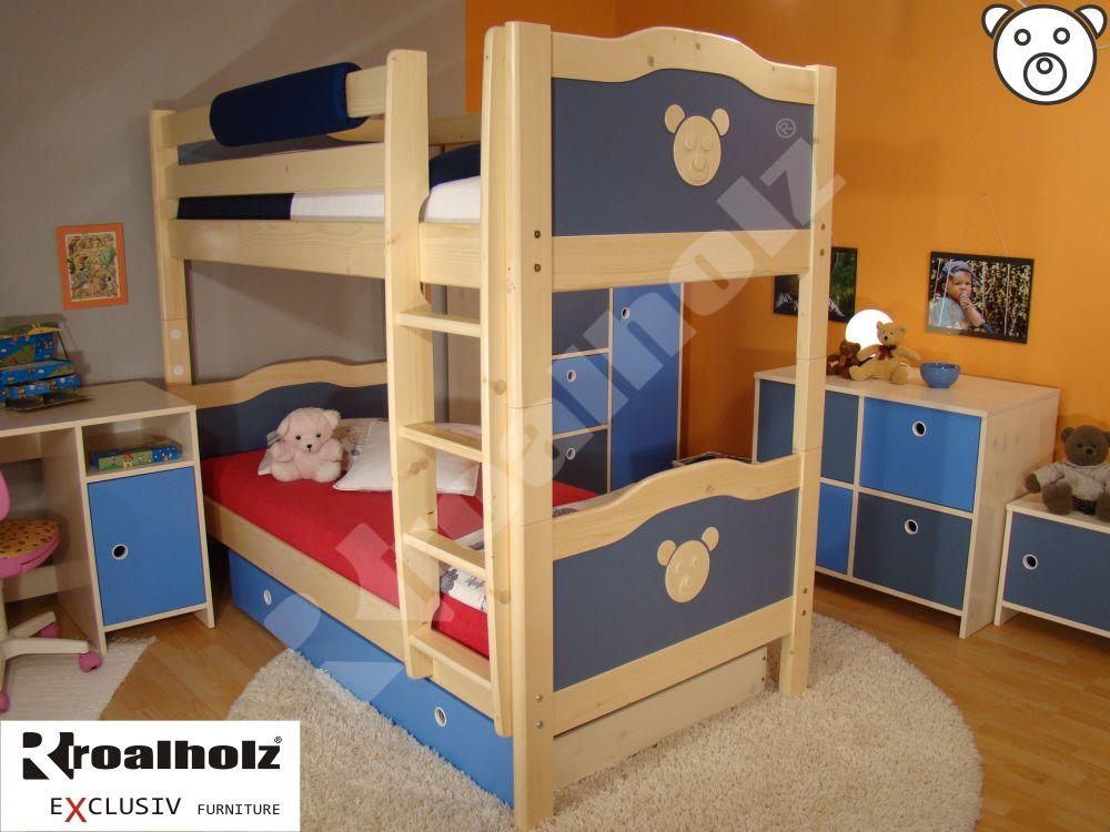 barevná rozkládací patrová postel z masivu KOALA