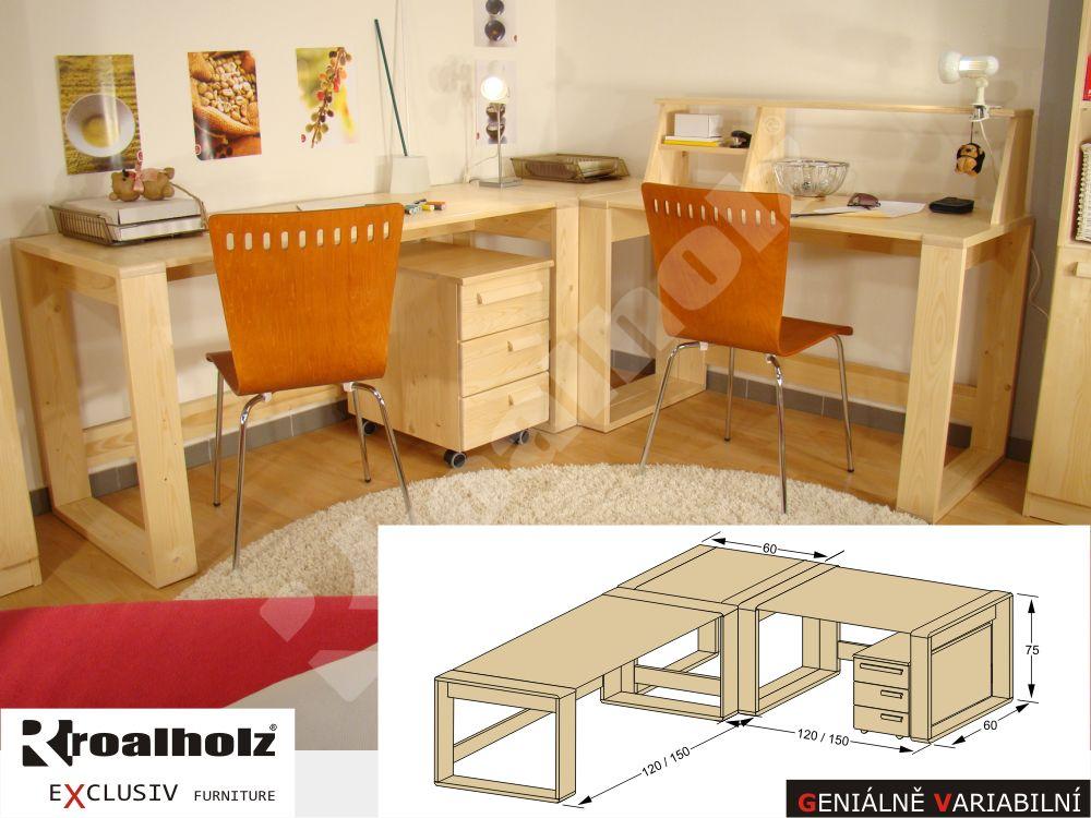 rohový psací stůl z masivu GENIUS R (rohový psací stůl, rohová sestava GENIUS R)