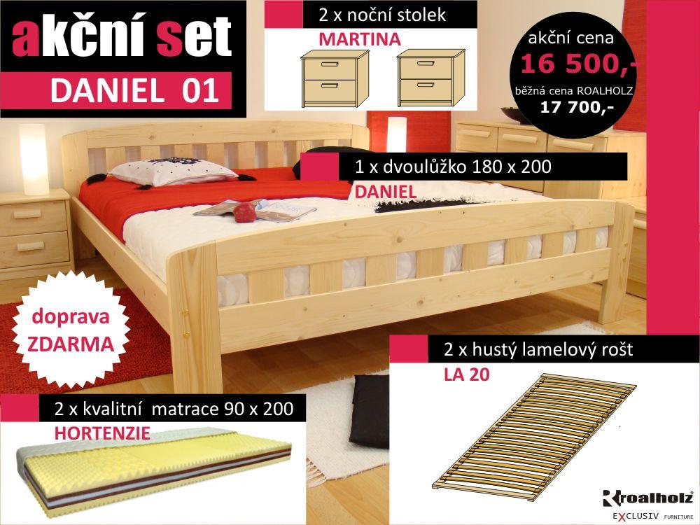 akční set DANIEL 01 dvoulůžko z masivu 180x200, rošty, matrace, noční stolky