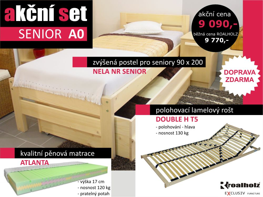 akční set SENIOR A0 - senior postel + rošt + matrace (akční set SENIOR A0, zvýšená postel s příslušenstvím)