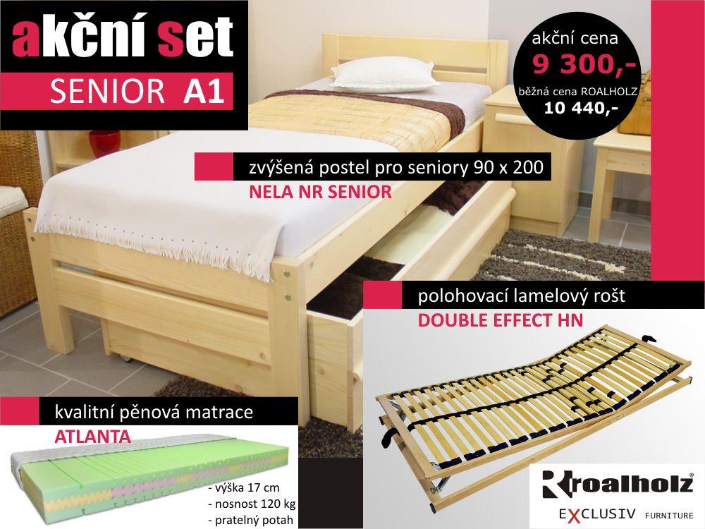 akční set SENIOR A1 - senior postel s roštem a matrací (akční set SENIOR, zvýšená postel + polohovací rošt + matrace)
