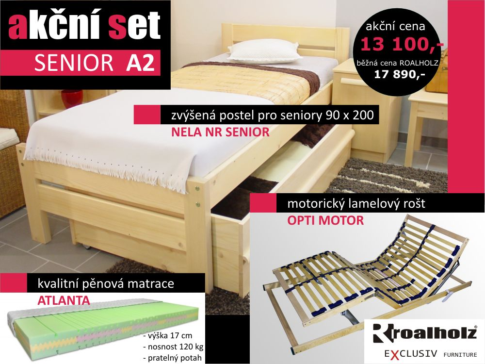akční set SENIOR A2 - postel + motorický rošt + matrace (akční set SENIOR A2 - postel + motorický rošt + matrace)