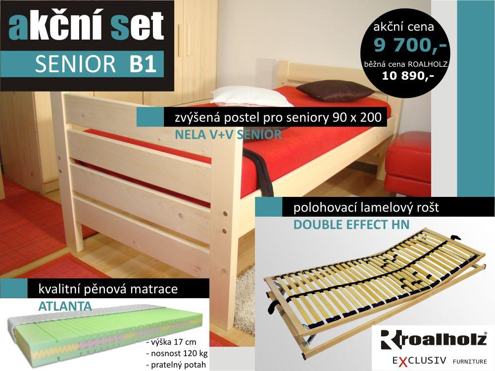 akční set SENIOR B1 - postel zvýšená + rošt + matrace (akční set SENIOR B1 - postel + polohovací rošt + matrace)